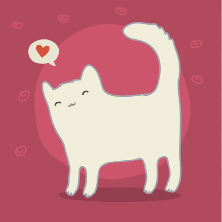 Cute white cat on pink bacground with heart. Vector illustration