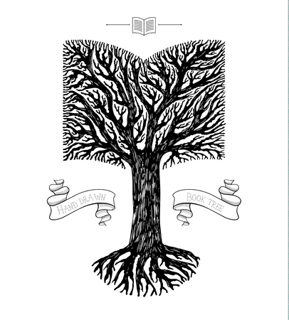 tree crown: Tree crown in the shape of open book. Concept of education