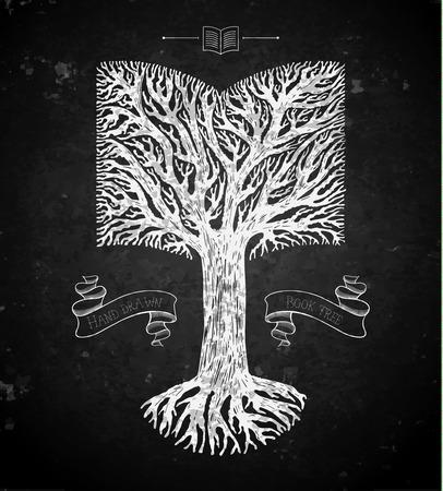tree crown: Tree crown in the shape of open book on blackboard