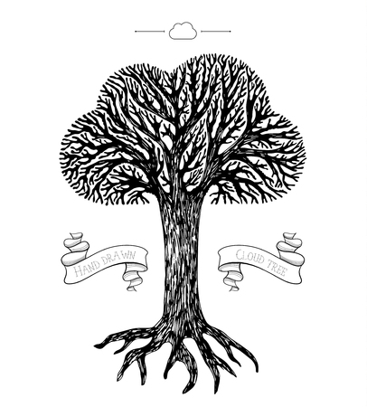 tree crown: Tree crown in the shape of cloud. Concept of cloud storage Illustration