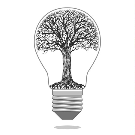 gray thread: Isolated tree in the bulb. Concept of ecology. Vector illustration