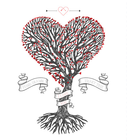 tree crown: Tree crown in the shape of heart with leafs and ribbons. Vector vintage greeting card