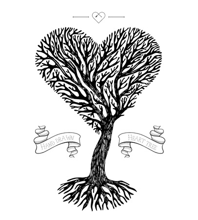 tree crown: Hand drawn tree crown like heart with ribbons. Vector greeting card