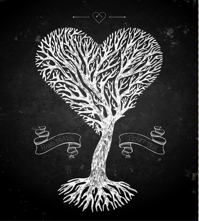 tree crown: Tree crown like heart with ribbons on blackboard. Vector illustration