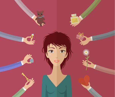 courtship: Beautiful girl and many hands give her gifts. Concept of courtship. Illustration