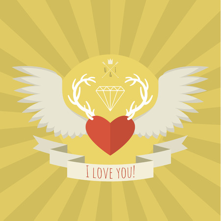 deer in heart: Heart with white deer antlers and wings. Vector illustration. Card of Valentines day