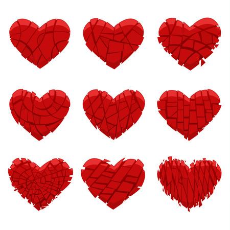 spunky: Set of red hearts broken into pieces. Vector illustration. Illustration