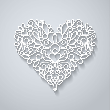 Swirly paper heart with shadow on white, vector illustration Vectores