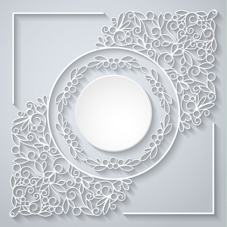 Swirly paper decor with shadow on white, vector illustration Illustration