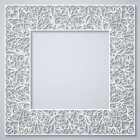 Swirly paper square decor with shadow on white, vector illustration Illustration