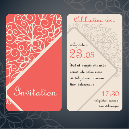 swirly: Swirly paper decor on red and white. Invitation card