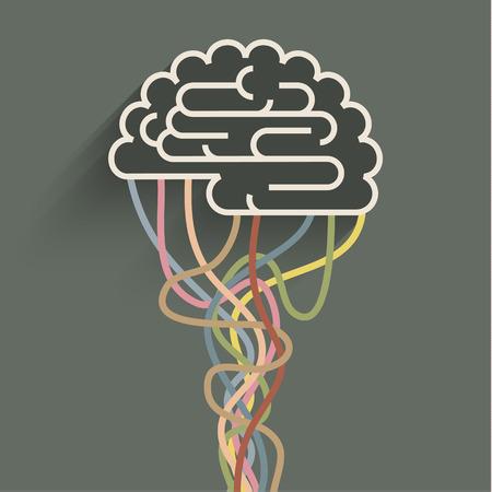 뇌는 네트워크에 접속된다. 인공 지능의 개념 일러스트