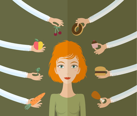 happy healthy woman: A few hands offers women a healthy and junk food. Flat style, vector illustration Illustration