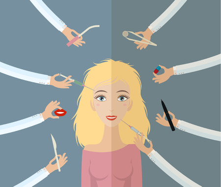 Healthcare, beauty and medicine concept - hands with tools plastic surgery around face of woman. Flat style, vector illustration