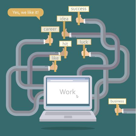 good cheer: Several hands from the laptop. Concept of teamwork in network