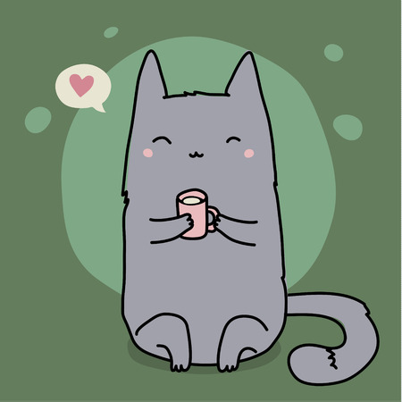 Cute cat on green background with cup of milk. Vector illustration.