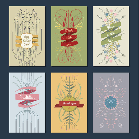 fall winter: Seasonal gift cards backgrounds set with floral ornate Illustration