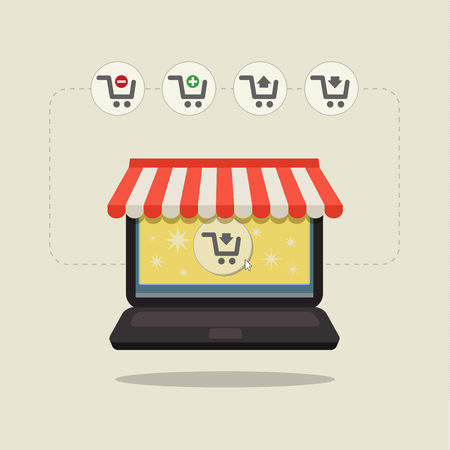 carport: Online store. Sale, Laptop with awning. Concept of shopping