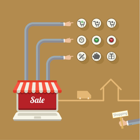 online store: Online store. Sale, many-armed laptop with awning. Concept of shopping
