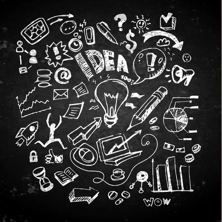 Business doodles on a blackboard. Concept of idea. Vector illustration Vector