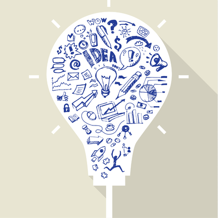 Business doodles in white silhouette of a bulb. Concept of idea Vector