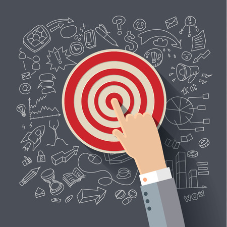 Finger to the target. Concept of success. Vector flat illustration.