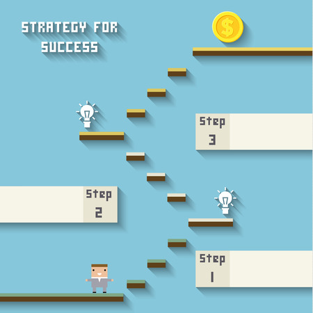 Strategy for success. Concept management of business by gamification. Integration and development. Interaction and growth of personal qualities - vector illustration Çizim
