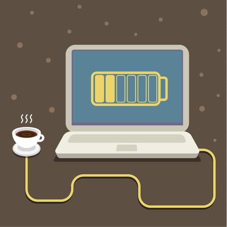 recarga: Power Coffee. Concepto de alegr�a, recargar las pilas y comienzo del d�a. Estilo Flat dise�o moderno de moda ilustraci�n vectorial Vectores