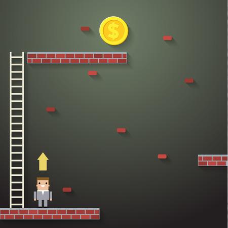 Businessman climbing the ladder.  Idea leadership business plan concept in modern flat style. Vector