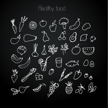 Healthy food background, drawn in chalk on the blackboard. Vector illustration