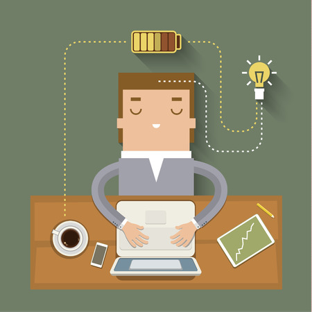 Coffee power. Concept of cheerfulness, recharge your batteries and beginning of the day. Flat style trendy modern design vector illustration 矢量图像
