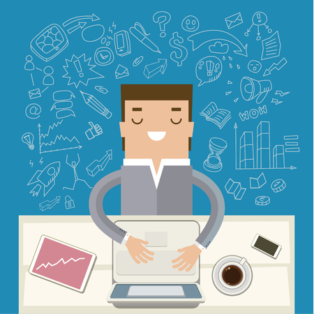 recharge: Man working at his desk. Concept of cheerfulness, recharge your batteries and beginning of the day. Flat style trendy modern design vector illustration