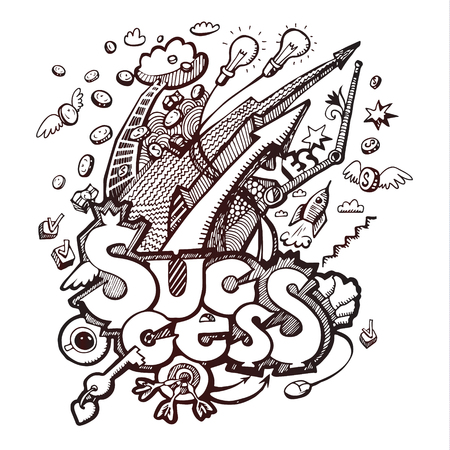 Business doodles. Concept of success. Vector illustration
