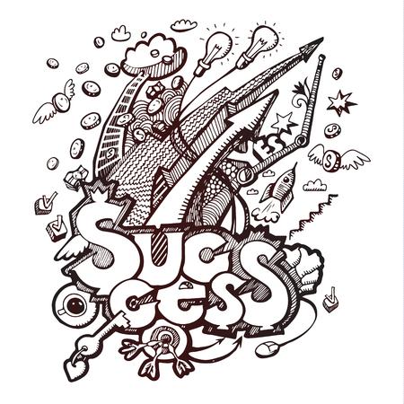 Business doodles. Concept of success. Vector illustration