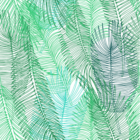 Hand drawn background of tropical palm leaves. Vector background.