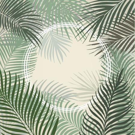 열 대 야자수의 손으로 그린 밝은 녹색 원 프레임 나뭇잎. 벡터 배경입니다.