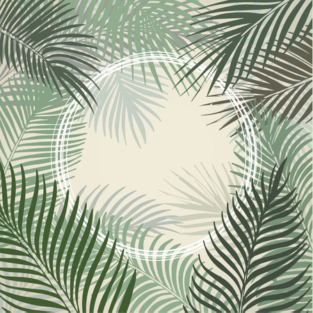 Hand drawn light green circle frame of tropical palm leaves. Vector background. Çizim
