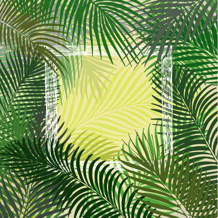 Hand drawn green square frame of tropical palm leaves. Vector background.
