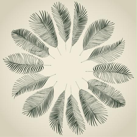 손 열 대 야자수 잎의 회색 배경을 그려. 벡터 배경입니다.