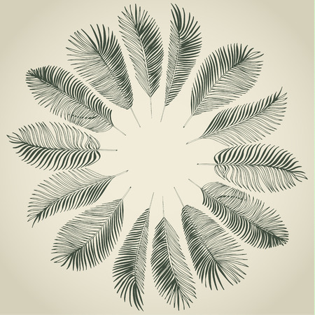 Hand drawn gray background of tropical palm leaves. Vector background. Иллюстрация