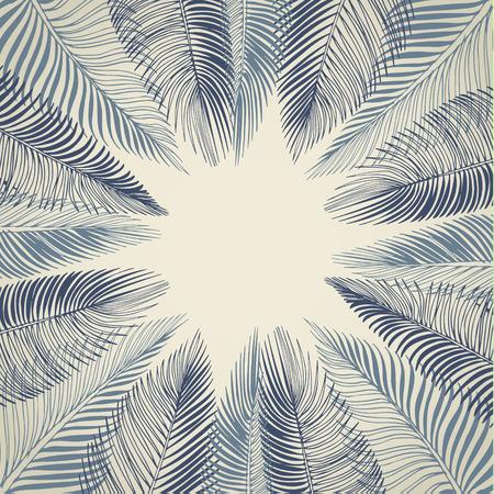 palmeras: Dibujado a mano de fondo azul de las hojas de palma tropicales. Vector de fondo.