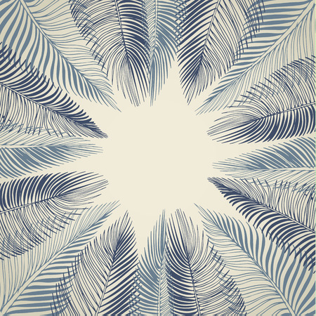 Hand drawn blue background of tropical palm leaves. Vector background.