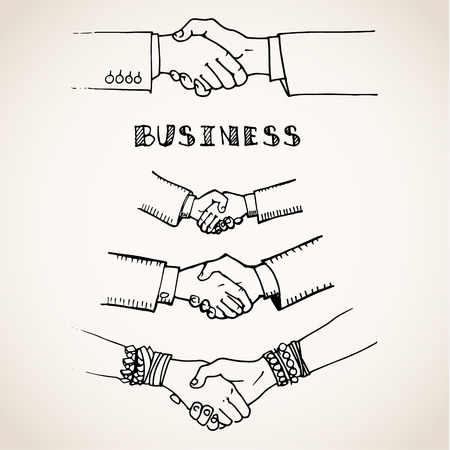 Vector sketch illustration of handshake on white Illustration