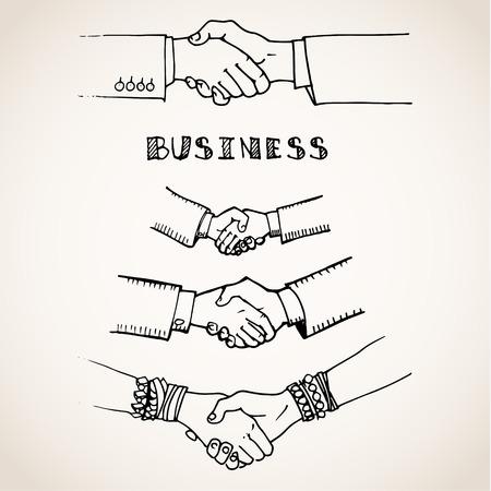 saludo de manos: Vector ilustración boceto de apretón de manos en blanco