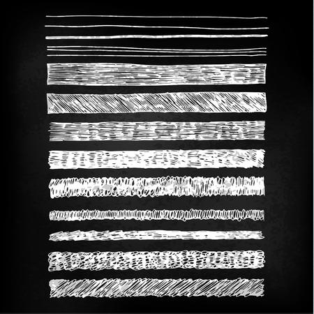 A set of hand drawn chalkboard style patterns in white on blackboard. Brush stroke pattern card templates.