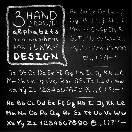 white letters: Hand drawn white letters and numbers on blackboard. Vector set
