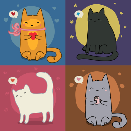 t shirt printing: Vector Set Of Different Adorable Cartoon Cats