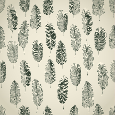 philodendron: Hand drawn tropical palm leaves. Seamless background. Illustration