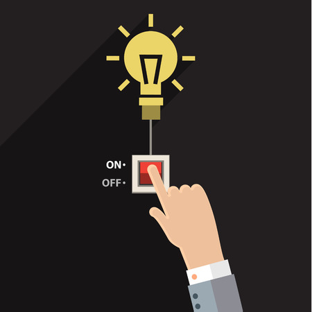 Turn on idea, representing with hand pushing on button on for bright light bulb.