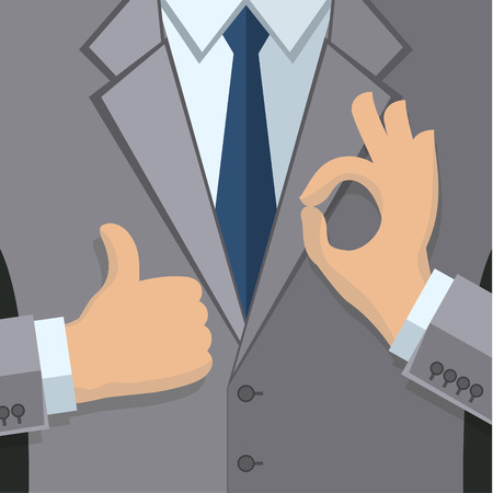 gray suit: Business man in gray suit give thumb up sign and gesturing OK sign. Flat design. Illustration